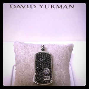 David Yurman Large Pave Black Diamonds Dog Tag